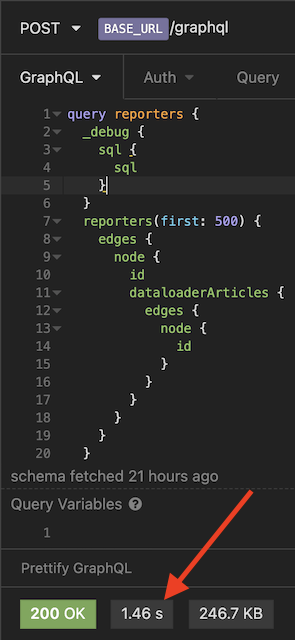 The query for reporters → articles (using dataloaderArticles)